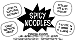 Sara Linsley original manga font Spicy Noodles